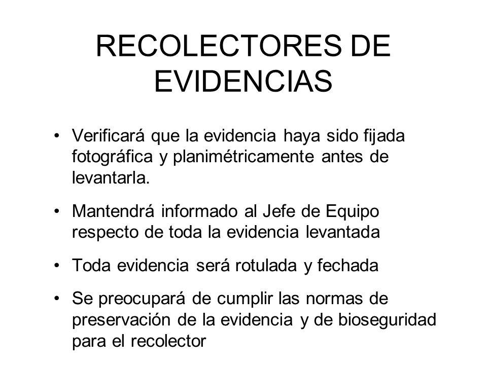 RECOLECTORES DE EVIDENCIAS Verificará que la evidencia haya sido fijada fotográfica y planimétricamente antes de levantarla.