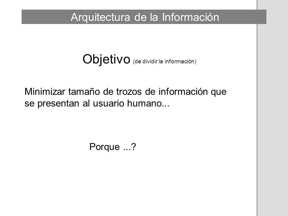 Objetivo (de dividir la información) Minimizar tamaño de trozos de información que se presentan al usuario humano... Porque...? Arquitectura de la Inf