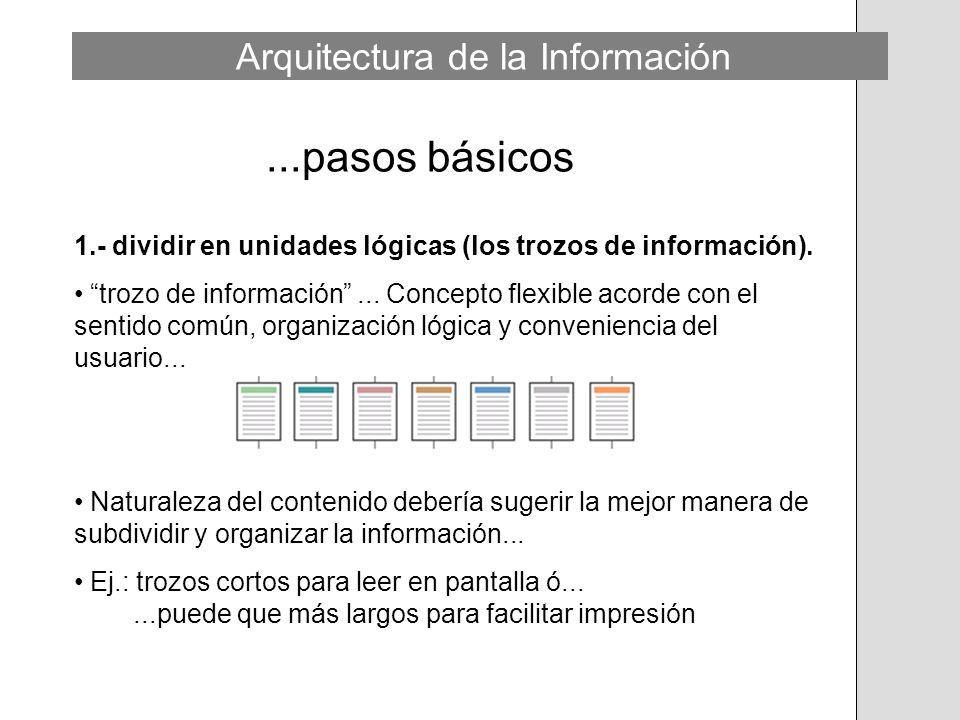 ...pasos básicos 1.- dividir en unidades lógicas (los trozos de información). trozo de información... Concepto flexible acorde con el sentido común, o