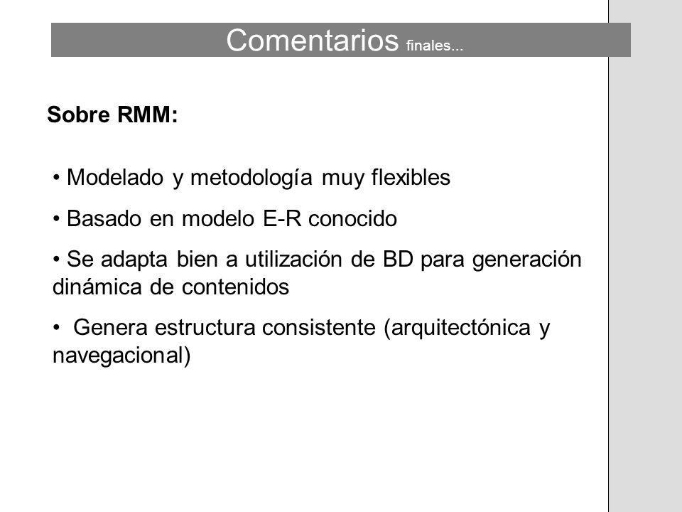 Modelado y metodología muy flexibles Basado en modelo E-R conocido Se adapta bien a utilización de BD para generación dinámica de contenidos Genera es