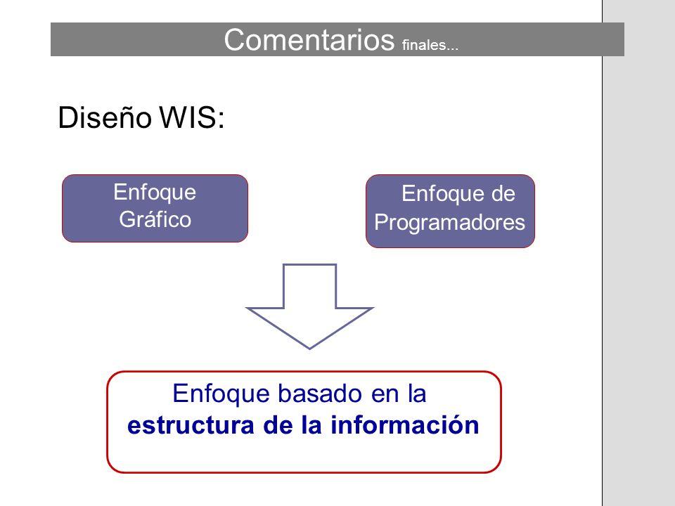 Diseño WIS: Enfoque Gráfico Enfoque de Programadores Comentarios finales... Enfoque basado en la estructura de la información