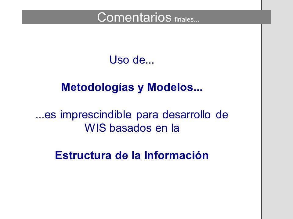 Uso de... Metodologías y Modelos......es imprescindible para desarrollo de WIS basados en la Estructura de la Información Comentarios finales...
