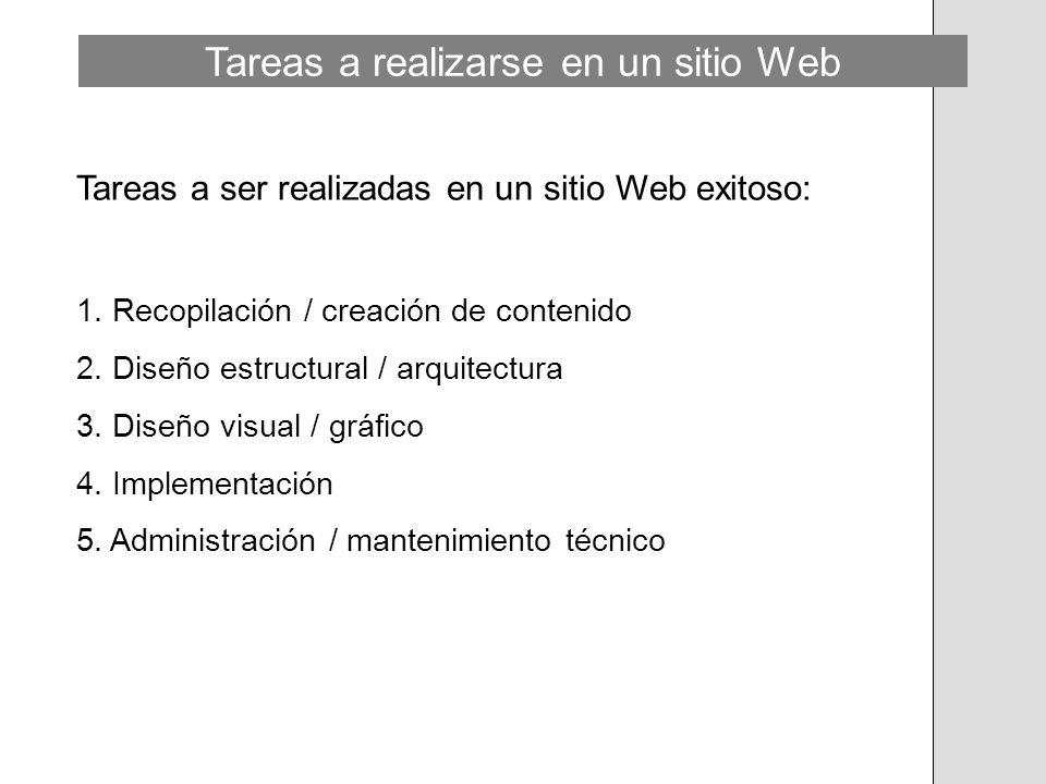 Tareas a realizarse en un sitio Web Tareas a ser realizadas en un sitio Web exitoso: 1. Recopilación / creación de contenido 2. Diseño estructural / a