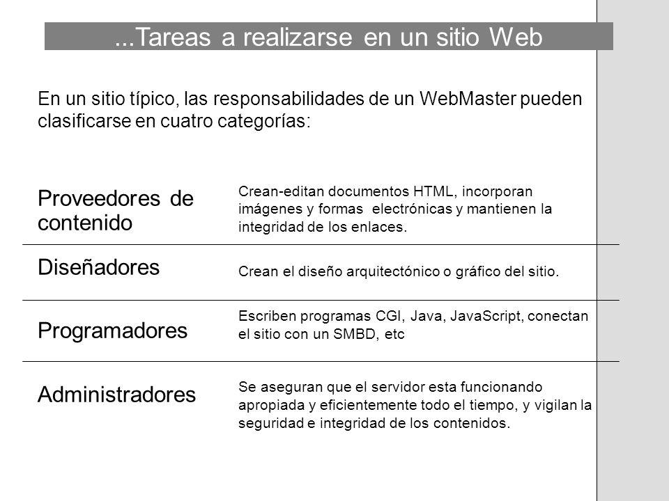 ...Tareas a realizarse en un sitio Web En un sitio típico, las responsabilidades de un WebMaster pueden clasificarse en cuatro categorías: Proveedores