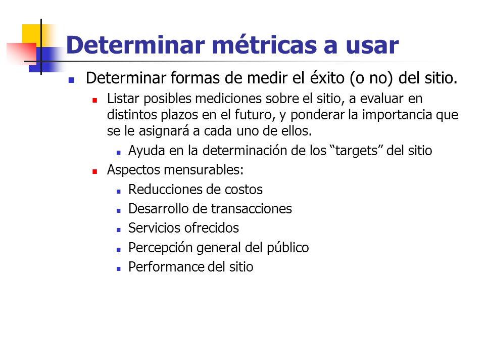 Determinar métricas a usar Determinar formas de medir el éxito (o no) del sitio. Listar posibles mediciones sobre el sitio, a evaluar en distintos pla