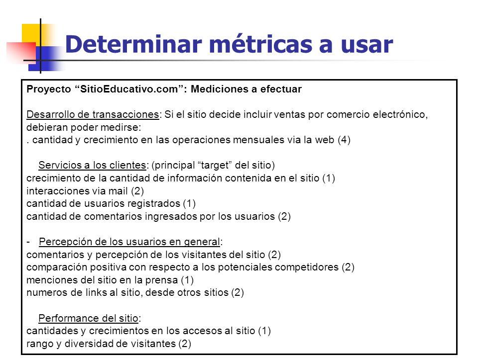 Determinar métricas a usar Proyecto SitioEducativo.com: Mediciones a efectuar Desarrollo de transacciones: Si el sitio decide incluir ventas por comer