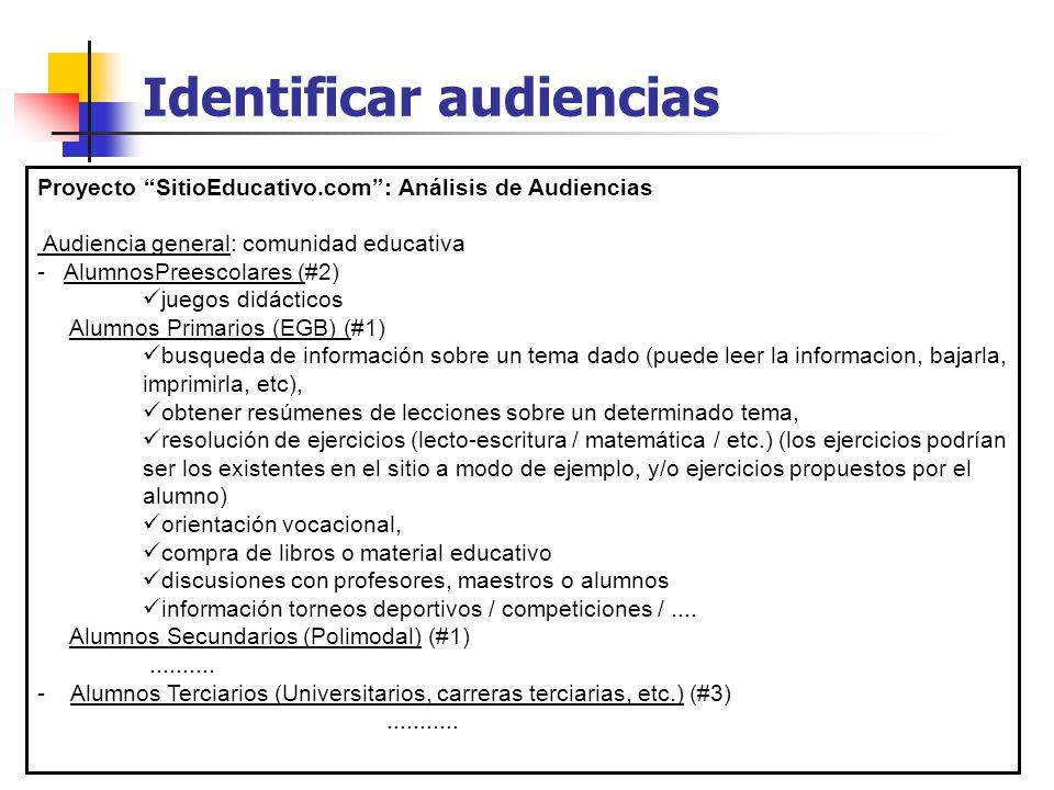 Identificar audiencias Proyecto SitioEducativo.com: Análisis de Audiencias Audiencia general: comunidad educativa - AlumnosPreescolares (#2) juegos di