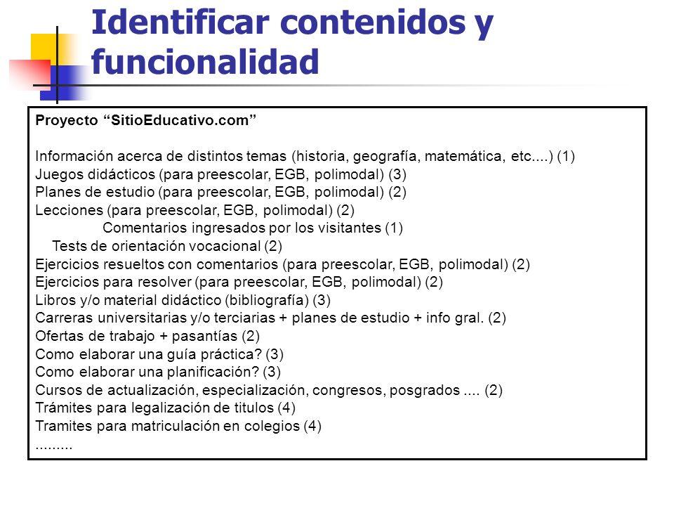 Identificar contenidos y funcionalidad Proyecto SitioEducativo.com Información acerca de distintos temas (historia, geografía, matemática, etc....) (1) Juegos didácticos (para preescolar, EGB, polimodal) (3) Planes de estudio (para preescolar, EGB, polimodal) (2) Lecciones (para preescolar, EGB, polimodal) (2) Comentarios ingresados por los visitantes (1) Tests de orientación vocacional (2) Ejercicios resueltos con comentarios (para preescolar, EGB, polimodal) (2) Ejercicios para resolver (para preescolar, EGB, polimodal) (2) Libros y/o material didáctico (bibliografía) (3) Carreras universitarias y/o terciarias + planes de estudio + info gral.