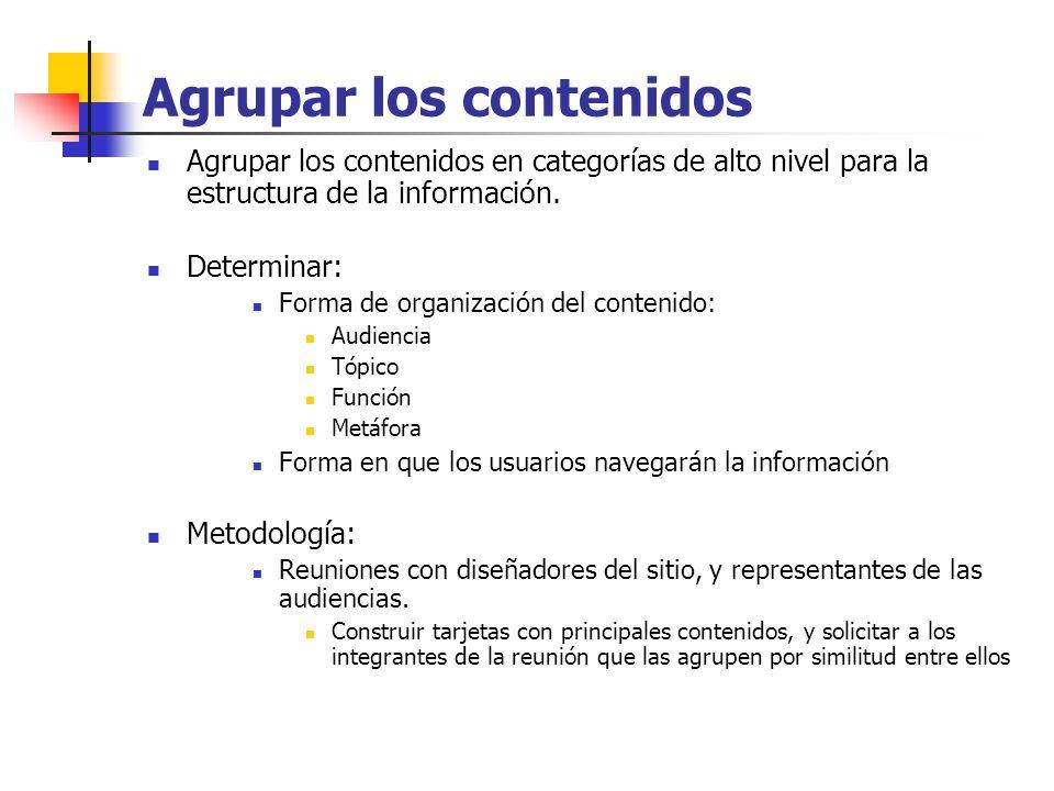 Agrupar los contenidos Agrupar los contenidos en categorías de alto nivel para la estructura de la información. Determinar: Forma de organización del