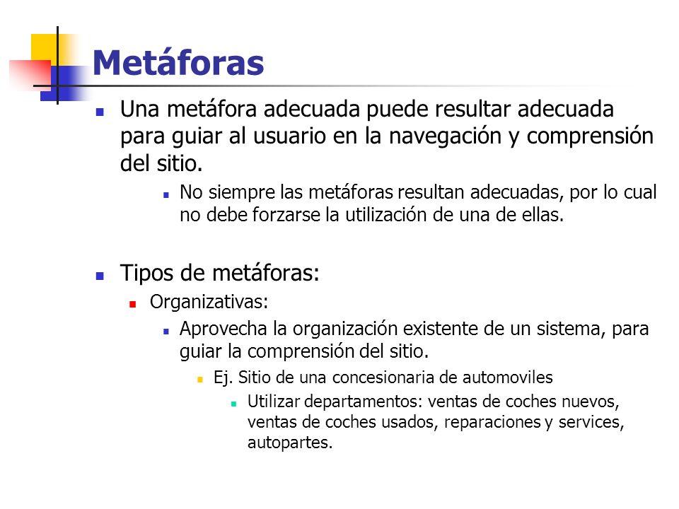 Metáforas Una metáfora adecuada puede resultar adecuada para guiar al usuario en la navegación y comprensión del sitio. No siempre las metáforas resul