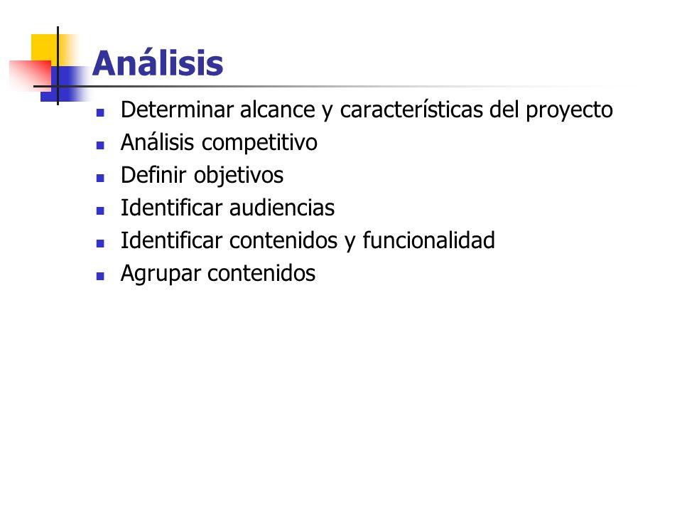 Análisis Determinar alcance y características del proyecto Análisis competitivo Definir objetivos Identificar audiencias Identificar contenidos y func