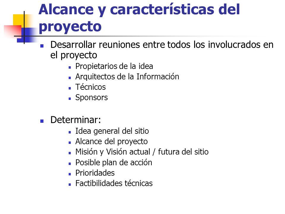 Alcance y características del proyecto Desarrollar reuniones entre todos los involucrados en el proyecto Propietarios de la idea Arquitectos de la Inf