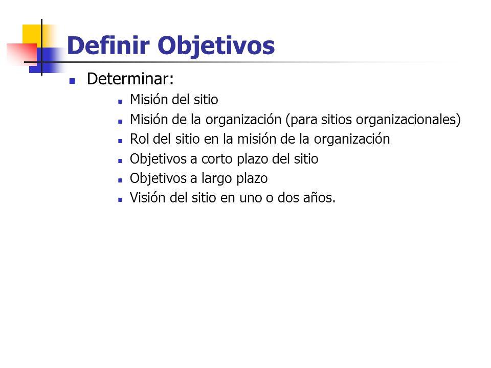 Definir Objetivos Determinar: Misión del sitio Misión de la organización (para sitios organizacionales) Rol del sitio en la misión de la organización Objetivos a corto plazo del sitio Objetivos a largo plazo Visión del sitio en uno o dos años.
