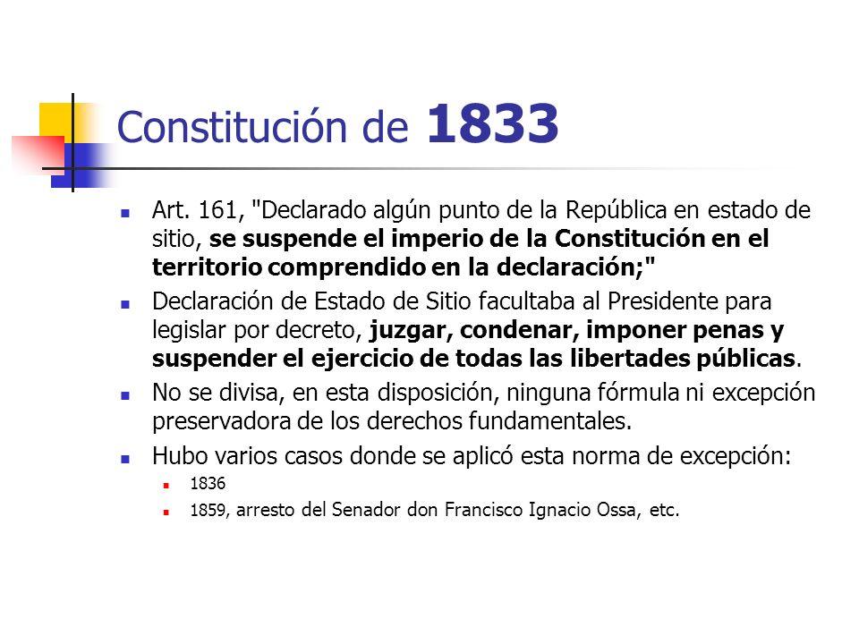Constitución de 1833 Art. 161,