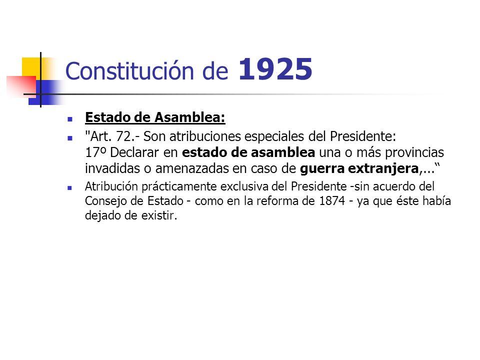Constitución de 1925 Estado de Asamblea: Art.