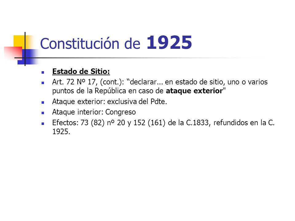 Constitución de 1925 Estado de Sitio: Art. 72 Nº 17, (cont.): declarar... en estado de sitio, uno o varios puntos de la República en caso de ataque ex