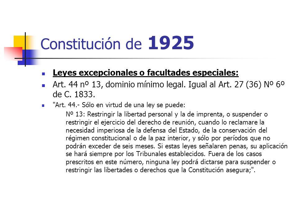 Constitución de 1925 Leyes excepcionales o facultades especiales: Art. 44 nº 13, dominio mínimo legal. Igual al Art. 27 (36) Nº 6º de C. 1833.