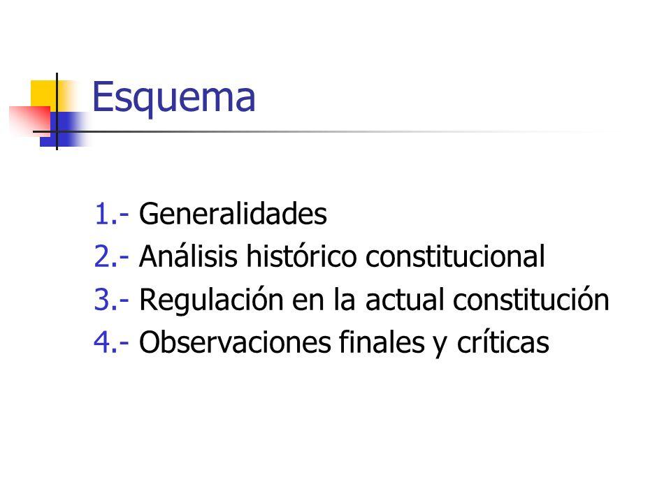 Esquema 1.- Generalidades 2.- Análisis histórico constitucional 3.- Regulación en la actual constitución 4.- Observaciones finales y críticas