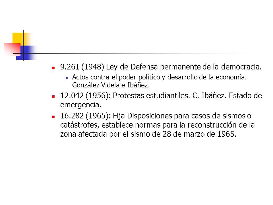 9.261 (1948) Ley de Defensa permanente de la democracia. Actos contra el poder político y desarrollo de la economía. González Videla e Ibáñez. 12.042