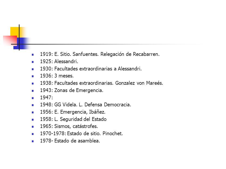 1919: E. Sitio. Sanfuentes. Relegación de Recabarren. 1925: Alessandri. 1930: Facultades extraordinarias a Alessandri. 1936: 3 meses. 1938: Facultades
