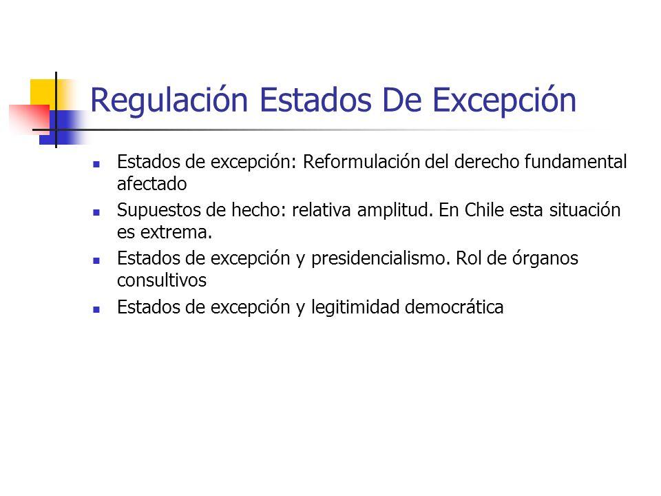 Regulación Estados De Excepción Estados de excepción: Reformulación del derecho fundamental afectado Supuestos de hecho: relativa amplitud. En Chile e