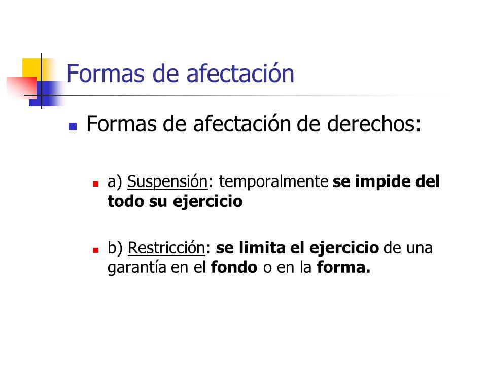 Formas de afectación Formas de afectación de derechos: a) Suspensión: temporalmente se impide del todo su ejercicio b) Restricción: se limita el ejercicio de una garantía en el fondo o en la forma.
