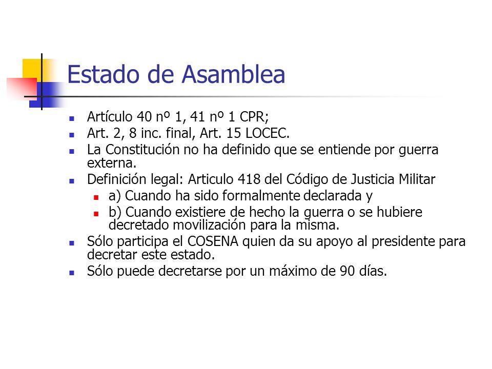 Estado de Asamblea Artículo 40 nº 1, 41 nº 1 CPR; Art. 2, 8 inc. final, Art. 15 LOCEC. La Constitución no ha definido que se entiende por guerra exter