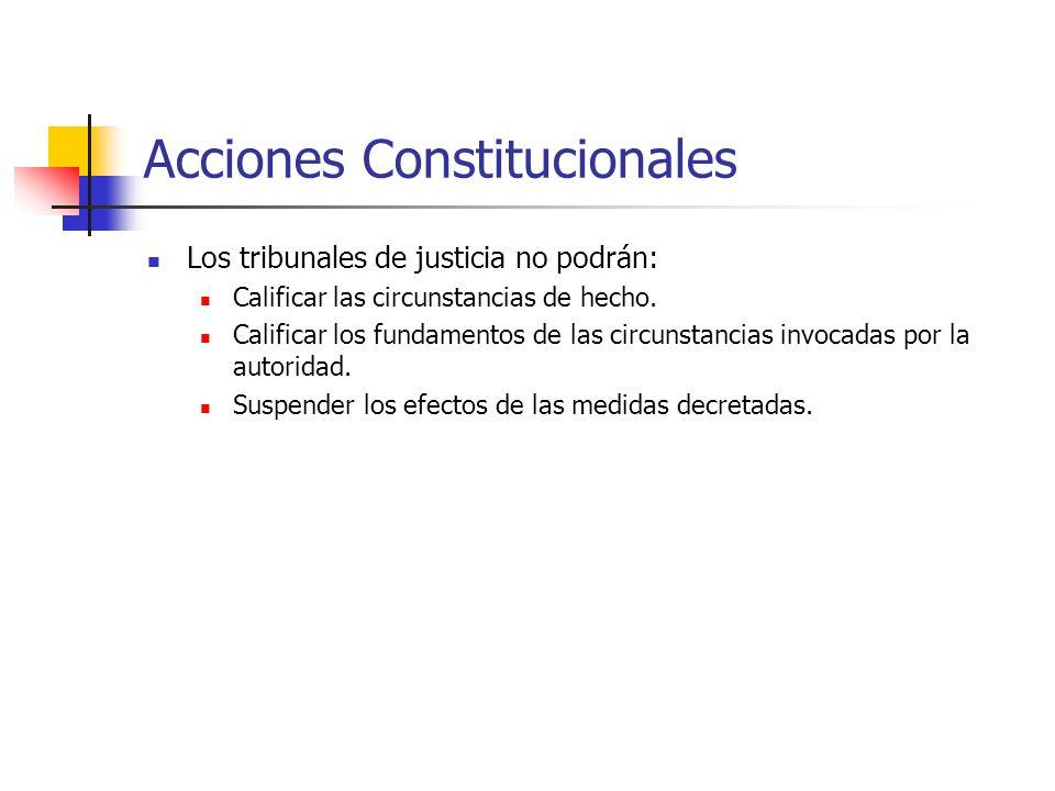 Acciones Constitucionales Los tribunales de justicia no podrán: Calificar las circunstancias de hecho. Calificar los fundamentos de las circunstancias