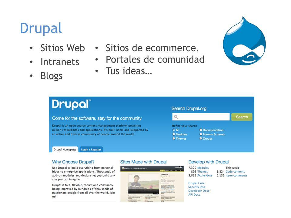 Drupal Sitios Web Intranets Blogs Sitios de ecommerce. Portales de comunidad Tus ideas…