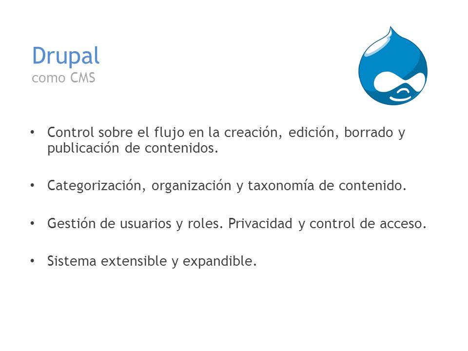 Drupal como CMS Control sobre el flujo en la creación, edición, borrado y publicación de contenidos. Categorización, organización y taxonomía de conte