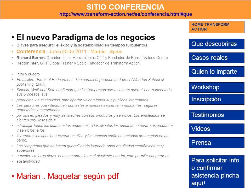 SITIO CONFERENCIA http://www.transform-action.net/es/conferencia.html#que El nuevo Paradigma de los negocios Claves para asegurar el éxito y la sosten