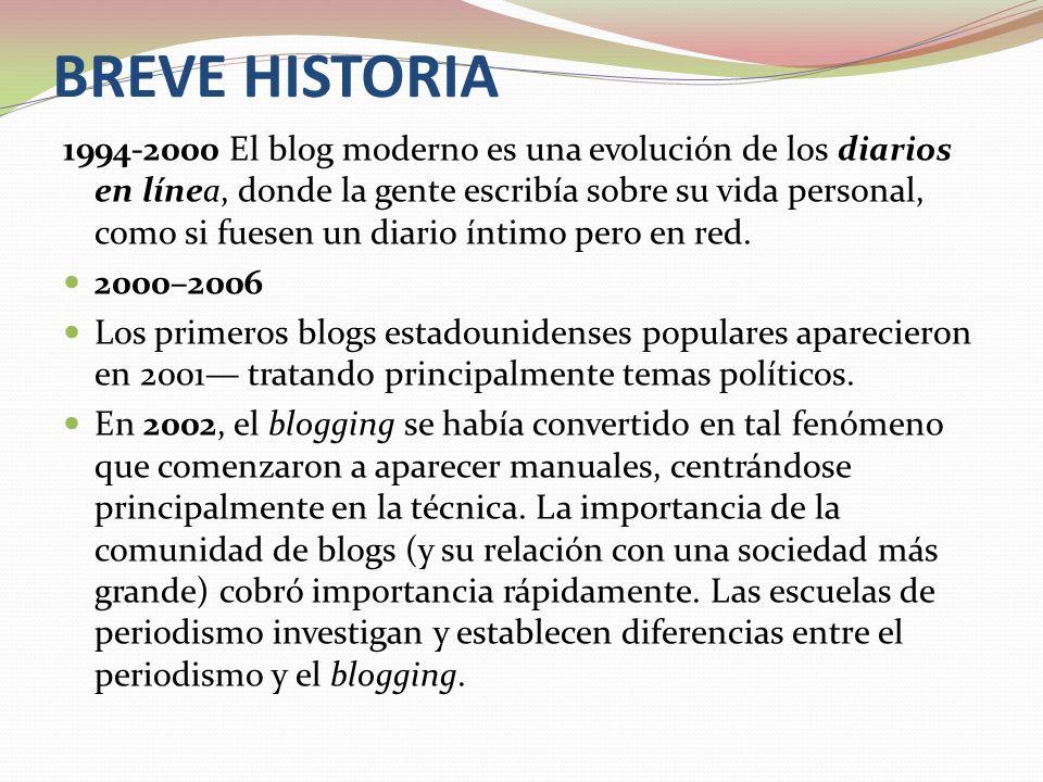 BREVE HISTORIA 1994-2000 El blog moderno es una evolución de los diarios en línea, donde la gente escribía sobre su vida personal, como si fuesen un d