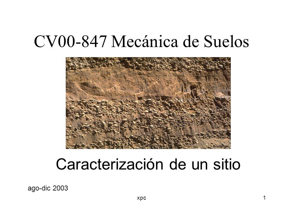xpc2 OBJETIVOS DE LA CARACTERIZACIÓN DEFINIR TODAS LAS CONDICIONES DEL SUELOS ESTABLECER PARÁMETROS DE DISEÑO GEOTÉCNICO PREVER PROBLEMAS CONSTRUCTIVOS