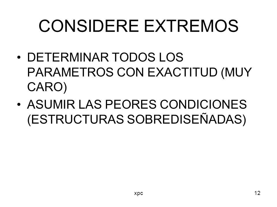 xpc12 CONSIDERE EXTREMOS DETERMINAR TODOS LOS PARAMETROS CON EXACTITUD (MUY CARO) ASUMIR LAS PEORES CONDICIONES (ESTRUCTURAS SOBREDISEÑADAS)