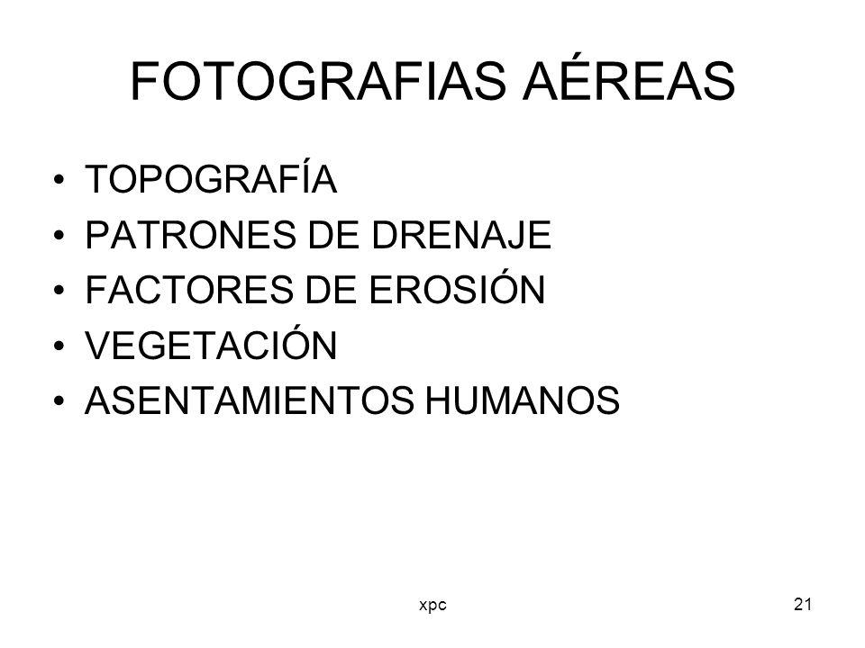 xpc21 FOTOGRAFIAS AÉREAS TOPOGRAFÍA PATRONES DE DRENAJE FACTORES DE EROSIÓN VEGETACIÓN ASENTAMIENTOS HUMANOS