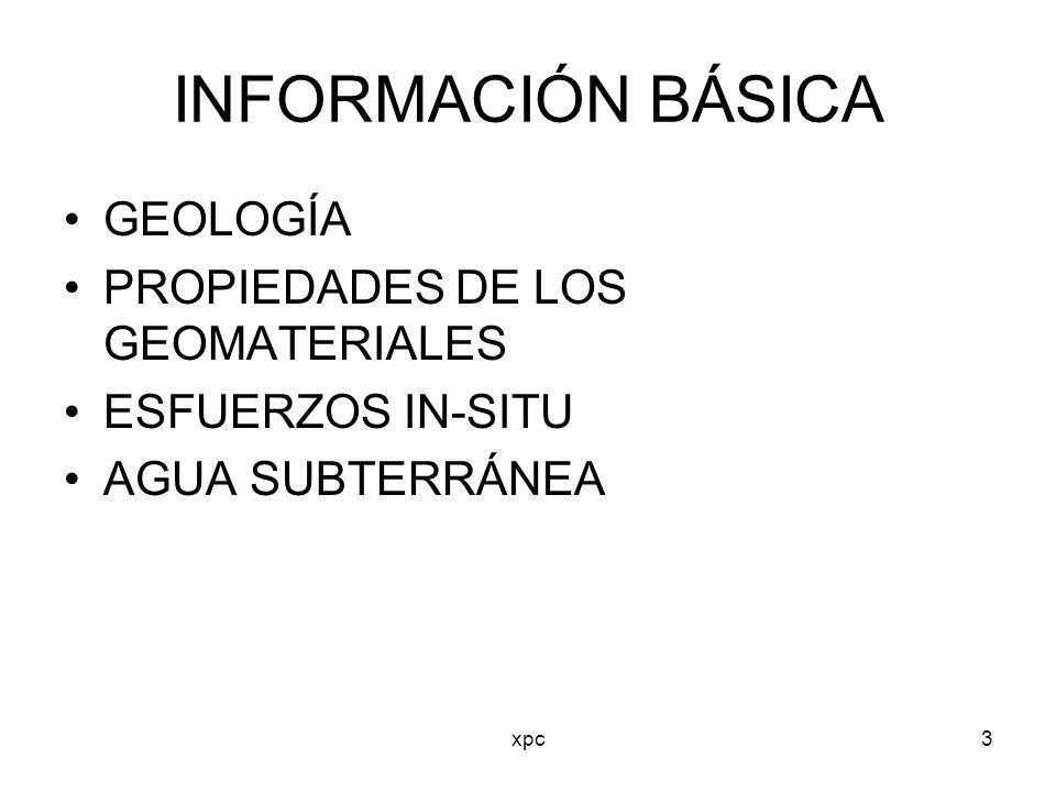 xpc3 INFORMACIÓN BÁSICA GEOLOGÍA PROPIEDADES DE LOS GEOMATERIALES ESFUERZOS IN-SITU AGUA SUBTERRÁNEA