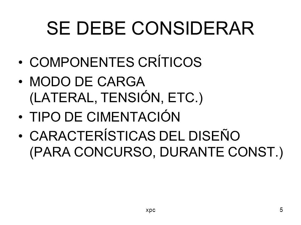 xpc5 SE DEBE CONSIDERAR COMPONENTES CRÍTICOS MODO DE CARGA (LATERAL, TENSIÓN, ETC.) TIPO DE CIMENTACIÓN CARACTERÍSTICAS DEL DISEÑO (PARA CONCURSO, DUR