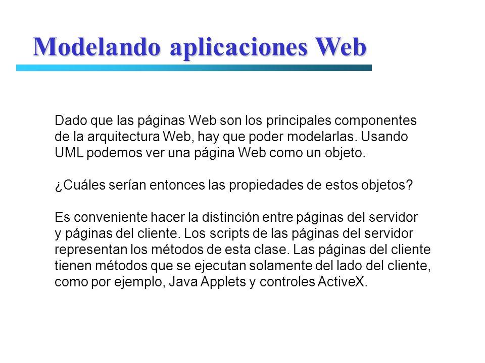 Modelando aplicaciones Web Dado que las páginas Web son los principales componentes de la arquitectura Web, hay que poder modelarlas. Usando UML podem