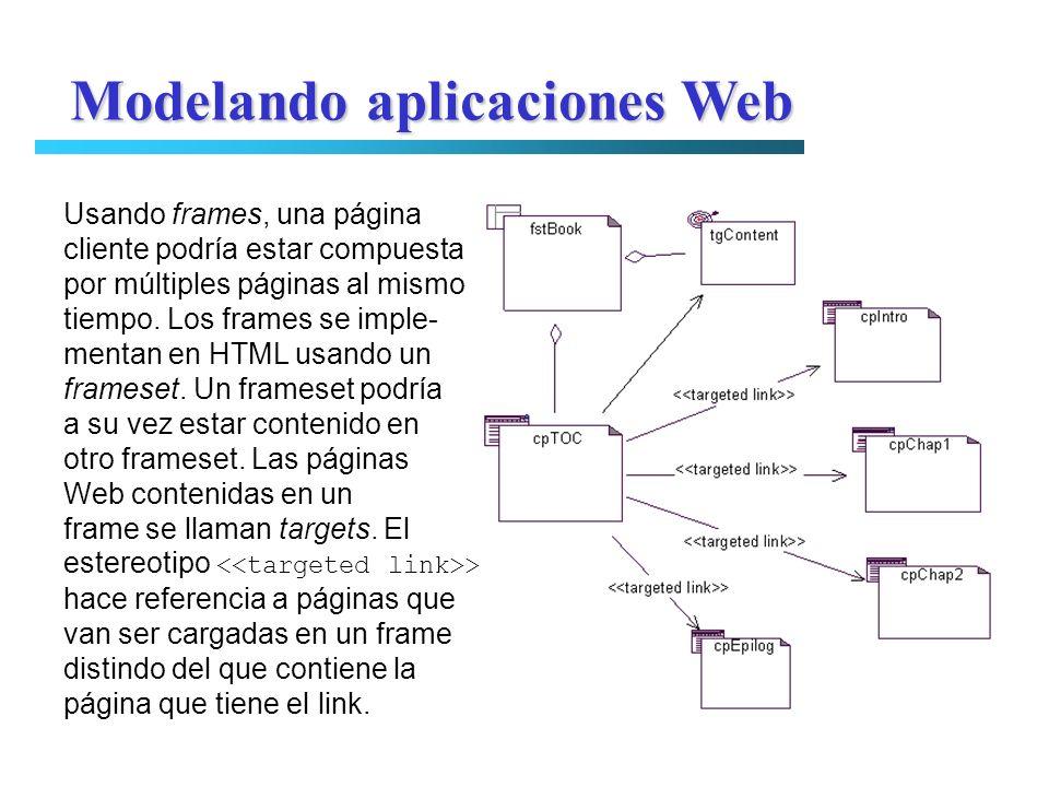 Modelando aplicaciones Web Usando frames, una página cliente podría estar compuesta por múltiples páginas al mismo tiempo. Los frames se imple- mentan