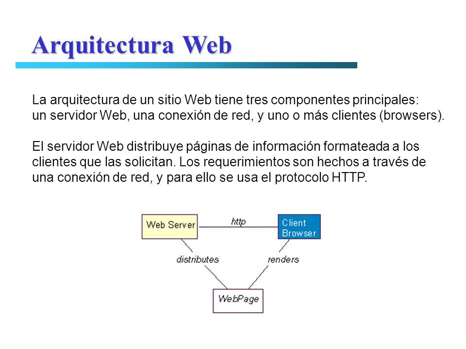 La arquitectura de un sitio Web tiene tres componentes principales: un servidor Web, una conexión de red, y uno o más clientes (browsers). El servidor