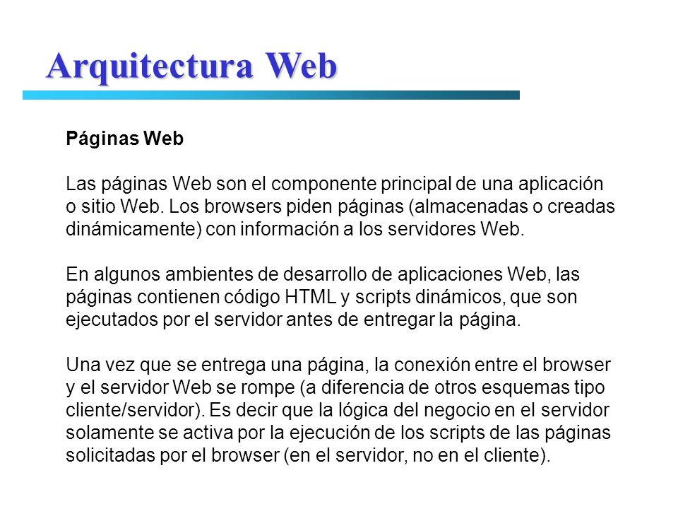 Páginas Web Las páginas Web son el componente principal de una aplicación o sitio Web. Los browsers piden páginas (almacenadas o creadas dinámicamente