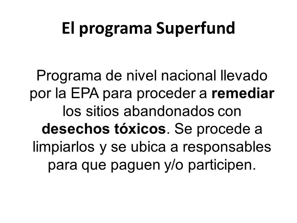Sitios Superfund -1.300 pendientes (11M personas a 1 milla) -300 remediados