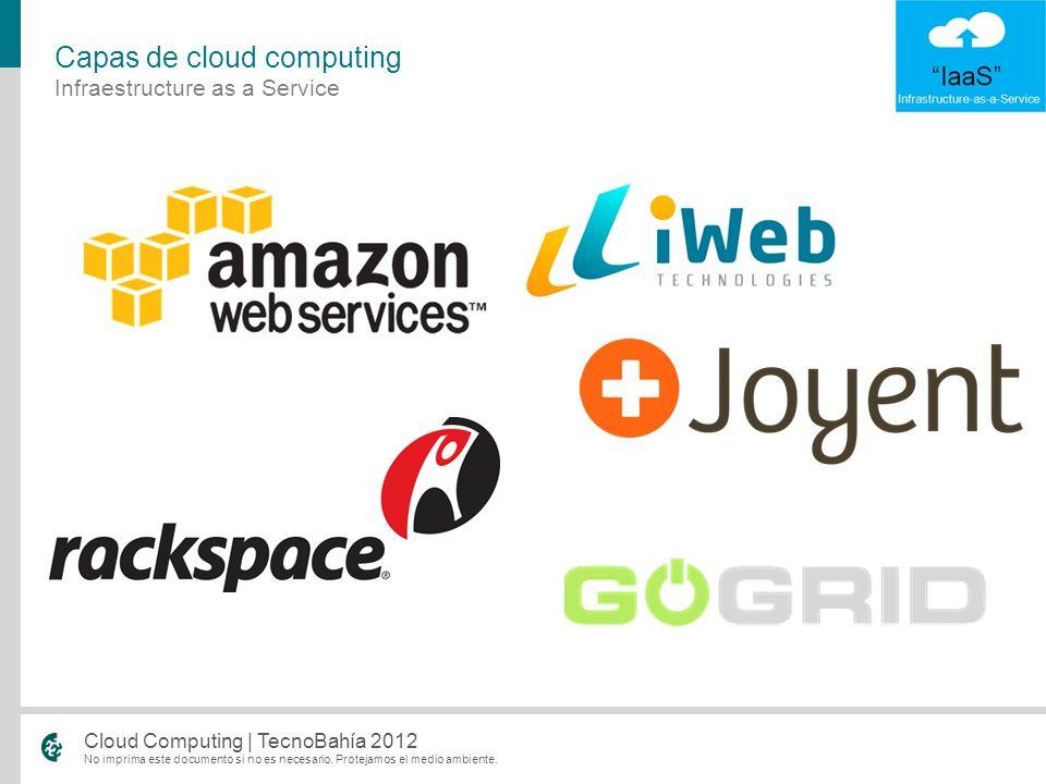 No imprima este documento si no es necesario. Protejamos el medio ambiente. Cloud Computing | TecnoBahía 2012 Infraestructure as a Service Capas de cl