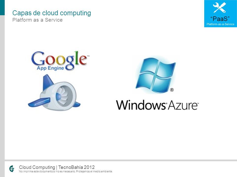 No imprima este documento si no es necesario. Protejamos el medio ambiente. Cloud Computing | TecnoBahía 2012 Platform as a Service Capas de cloud com