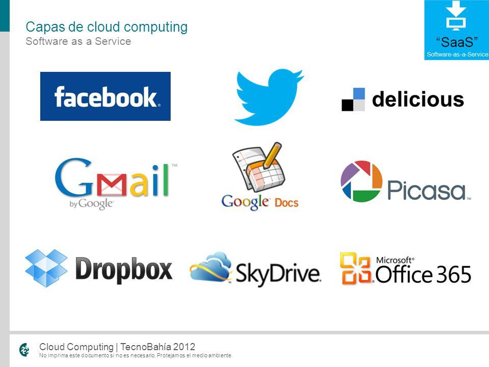 No imprima este documento si no es necesario. Protejamos el medio ambiente. Cloud Computing | TecnoBahía 2012 Software as a Service Capas de cloud com