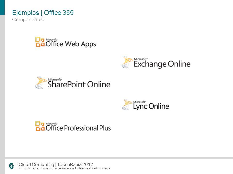 No imprima este documento si no es necesario. Protejamos el medio ambiente. Cloud Computing | TecnoBahía 2012 Componentes Ejemplos | Office 365