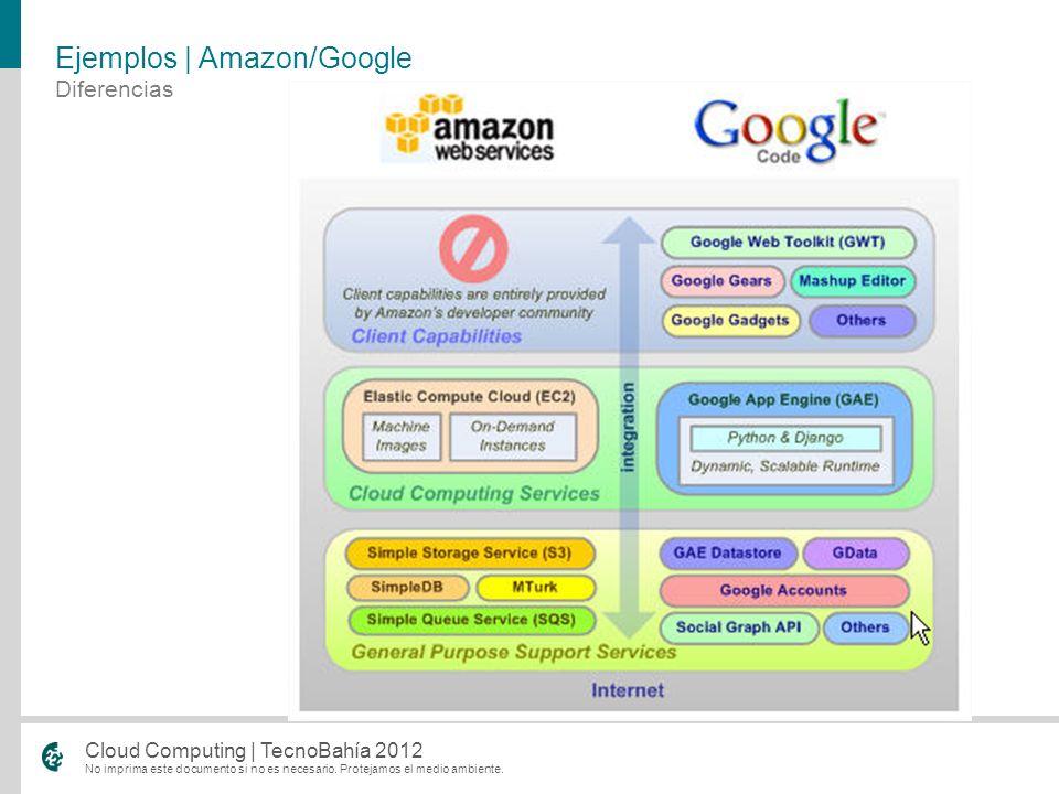 No imprima este documento si no es necesario. Protejamos el medio ambiente. Cloud Computing | TecnoBahía 2012 Diferencias Ejemplos | Amazon/Google
