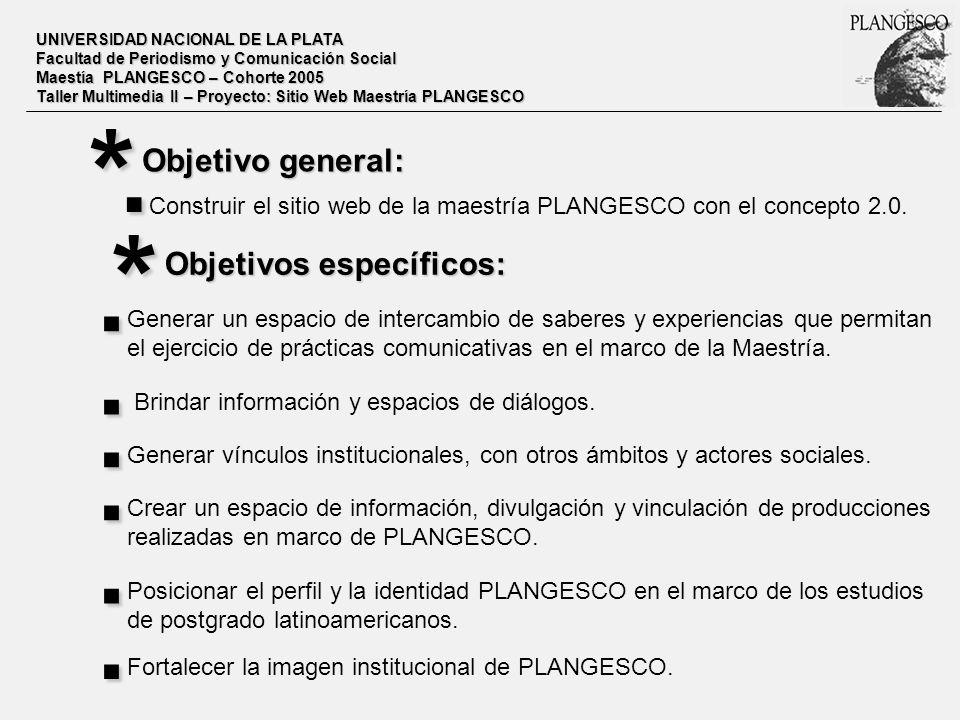 UNIVERSIDAD NACIONAL DE LA PLATA Facultad de Periodismo y Comunicación Social Maestía PLANGESCO – Cohorte 2005 Taller Multimedia II – Proyecto: Sitio