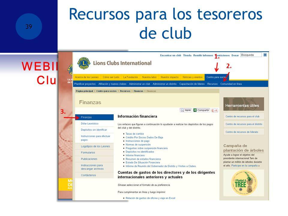 WEBINAR – Manejo de las Reuniones de Club-9 de enero, 2014, a las 7:00pm CURSO DE APRENDIZAJE INDIVIDUAL PARA TESOREROS DE CLUB Recursos para los tesoreros de club 39 1.
