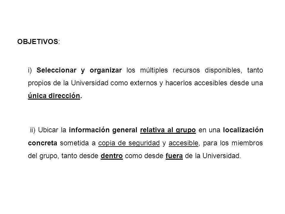 OBJETIVOS: i) Seleccionar y organizar los múltiples recursos disponibles, tanto propios de la Universidad como externos y hacerlos accesibles desde una única dirección.